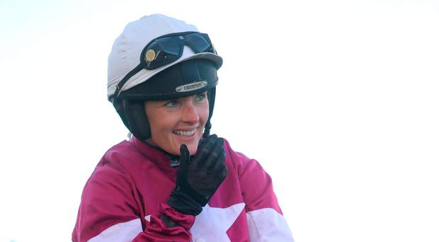 Smiles all round: A delighted Katie Walsh after her first ever Grade One success, Blow By Blow winning the Champion INH Flat Race last night at the Punchestown Festival
