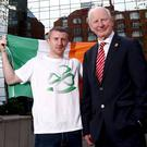 First to the punch: Boxer Paddy Barnes, flag-bearer for the Ireland team at the 2016 Olympic Games in Rio, with Olympic Council of Ireland President Patrick Hickey