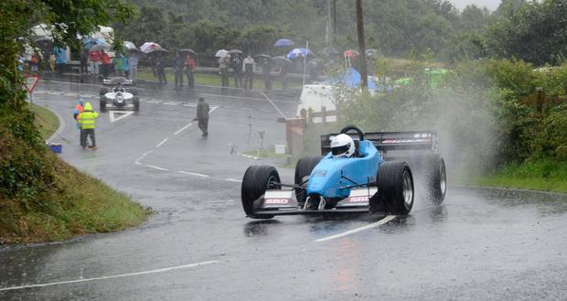 Making a splash: Trevor Willis powered through the puddles to win a rainsoaked Craigantlet hillclimb in 2015