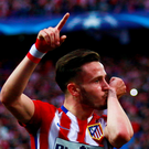 Saul Niguez of Atletico Madrid celebrates as he scores their first goal during the UEFA Champions League semi final first leg match between Club Atletico de Madrid and FC Bayern Muenchen at Vincente Calderon on April 27, 2016 in Madrid, Spain. (Photo by Gonzalo Arroyo Moreno/Getty Images)