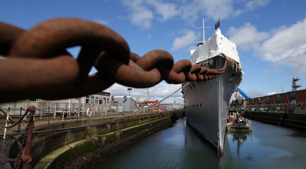 General view of HMS Caroline as Captain John Rees OBE, the man responsible for the restoration of HMS Caroline, gave the media a sneak preview of the almost completed works, four weeks before the ship opens to the public. HMS Caroline is the last remaining floating survivor of the May 31 1916 Battle of Jutland. 10,000 Irishmen joined the Royal Navy in World War One and 300 perished at Jutland. Photo by Kelvin Boyes / Press Eye