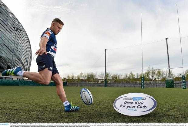 Ireland star Ian Madigan today launched a new club rugby initiative, 'Drop Kick for your Club', which will take place at half time during the Ulster Bank League Final in the Aviva Stadium on Sunday 8th May. Matt Browne / SPORTSFILE