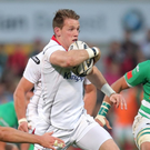 In the running: Craig Gilroy en route to his magical try against Treviso
