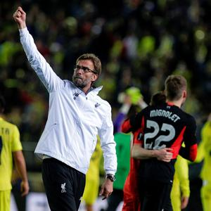 Liverpool's German coach Jurgen Klopp waves at the end of the UEFA Europa League semifinals first leg football match Villarreal CF vs Liverpool FC at El Madrigal stadium in Vila-real on April 28, 2016. / AFP PHOTO / JOSE JORDANJOSE JORDAN/AFP/Getty Images