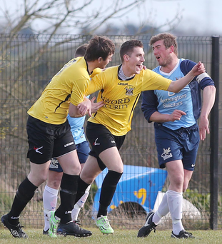 Back of the net: Andrew Ferguson celebrates his goal against Ards