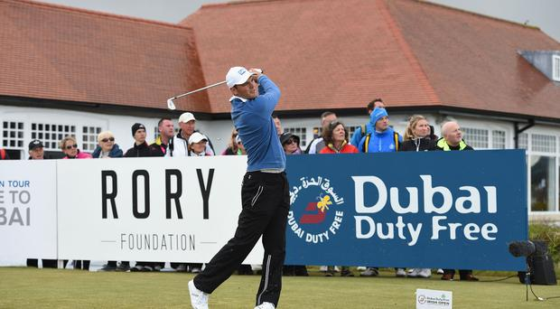 Martin Kaymer of Germany tees off during the Second Round of the Dubai Duty Free Irish Open Hosted by the Rory Foundation at Royal County Down Golf Club on May 29, 2015 in Newcastle, Northern Ireland. (Photo by Ross Kinnaird/Getty Images)