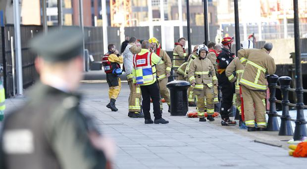 Emergency services at the scene of an incident at Donegall Quay ( Photo by Kevin Scott / Belfast Telegraph )