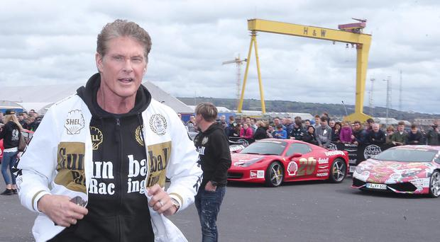 Baywatch star David Hasselhoff arrives along with the other drivers as the 18th annual Gumball 3000 arrives at the Titanic Centre in Belfast. Picture by Jonathan Porter/PressEye
