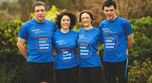 Best foot forward: from left, siblings Fergal, Claire and Niall McCamphill and Christine Grant