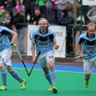 Dan and dusted: Lisnagarvey's Daniel Buser (centre) celebrates his goal in their EY Irish Champions Trophy final win over Ulster rivals Banbridge