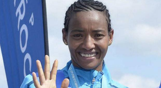Returning champion: Behran Gebremichael of Ethiopia is back today to defend her women's race title