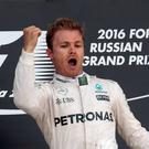 Nico Rosberg celebrates his fourth successive Grand Prix victory
