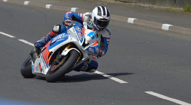 Top gear: William Dunlop on his way to winning the Supersport 2 race at the Cookstown 100