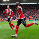 SOUTHAMPTON, ENGLAND - MAY 01: Sadio Mane of Southampton (10) celebrates as he scores his second goal and his team's third during the Barclays Premier League match between Southampton and Manchester City at St Mary's Stadium on May 1, 2016 in Southampton, England. (Photo by Clive Rose/Getty Images)***BESTPIX***