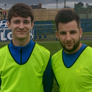 Mark Dane (left) and Thai Blevins, Loughgall FC