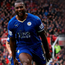 Wes Morgan celebrates Leicester's goal against Manchester United
