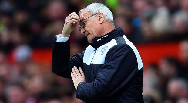 Wait for it: Ranieri's frustration shows at Old Trafford yesterday