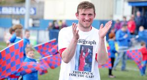 Ards' Denver Gage wearing T-shirts for team-mate Gary Warwick