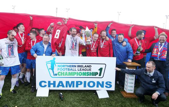 NIFL Championship One champions Ards celebrate their title win