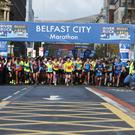 The start of the marathon in Belfast City Centre. Picture by Matt Mackey/ Press Eye.