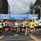 Press Eye - Belfast - Northern Ireland 2nd 2016 2016 Deep RiverRock Belfast City Marathon, Northern Ireland. The start of the marathon in Belfast City Centre Picture by Matt Mackey/ Press Eye.