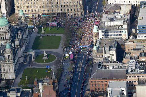 The view from the PSNI's air support unit at the start.