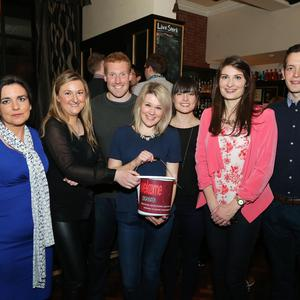 Press Eye - Belfast - Northern Ireland - 29th April 2016 - Photo by Kelvin Boyes / Press Eye Justine O'Kane, Olivia O'Kane, Andrew Davison, Emma Robertson, Caiomhe McCullagh, Naomi Lamont and James Hutchison pictured at a fund raising event organised by the Belfast Solicitors' Association on behalf of their chosen charity The Welcome Organisation.