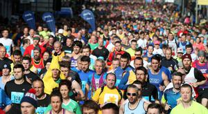 The runners head off along Chichester Street, Belfast. Presseye