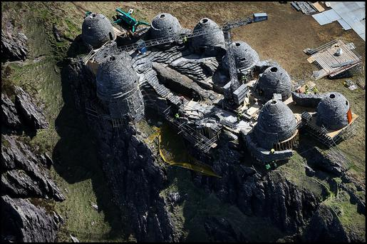 The film set for ancient Jedi Temple under construction at Ceann Sibeal in Kerry for the making of Star Wars Episode VIII.