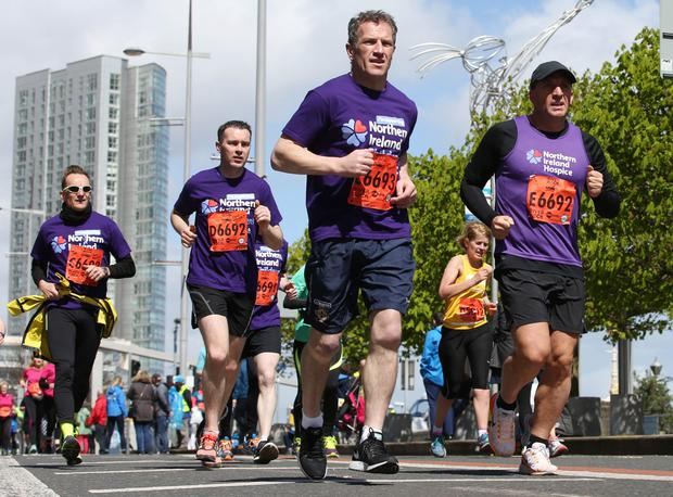 The 2016 Deep RiverRock Belfast City Marathon makes its way along Oxford Street. Mark Glendinning, Brendan Rodgers and Oisin McConville running for the Northern Ireland Hospice. Photo: Darren Kidd / Press Eye