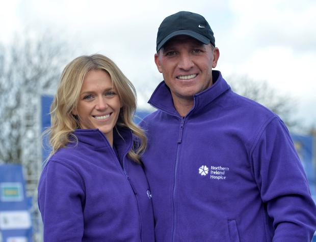 Former Liverpool manager Brendan Rodgers with his Fiance Charlotte Hind, after taking part in the Deep RiverRock Belfast City Marathon 2016 (for the Northern Ireland Hospice, on Bank Holiday Monday. Photo Colm Lenaghan/Pacemaker)