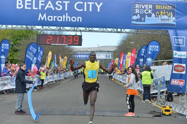Kenya's Joel Kipsang Kositany  who won the 2016 Belfast Marathon said he feels 'very happy'. This is Joel's third victory on the Belfast course which he says he loves. Photo Colm Lenaghan/Pacemaker