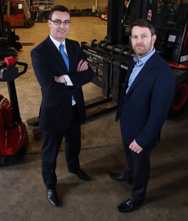 Neil McCabe (left), senior investment manager at WhiteRock Capital Partners with Jonathan Savage, managing director at Clearlift Material Handling Ltd