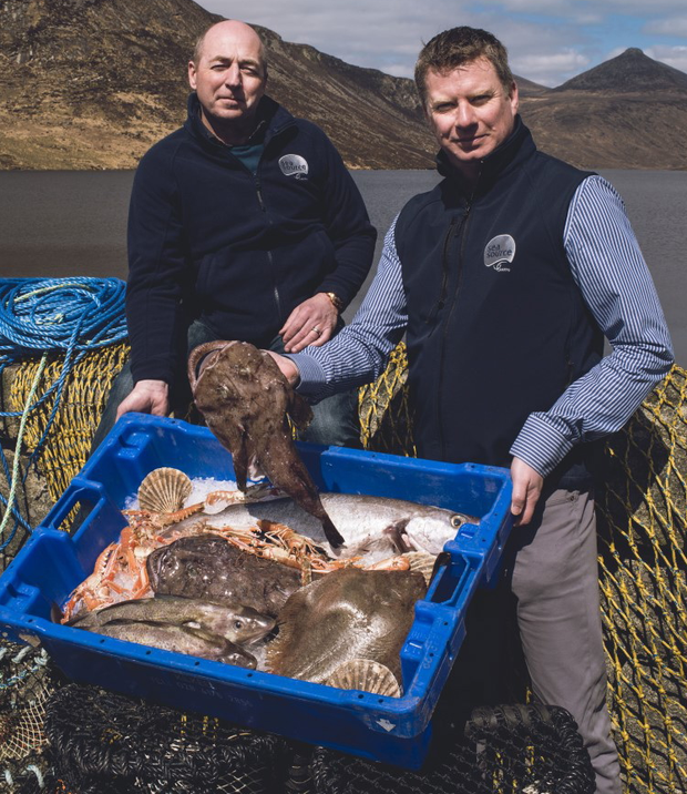 From left, fisherman Davey Hill and Alan McCulla, CEO of Sea-Source