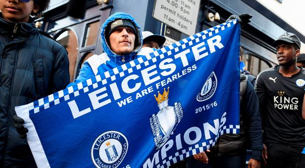 """Leicester-based musicians film a video for their latest music project """"Fearless"""" in central Leicester, eastern England, on 2 May, 2016. The song has been recorded to celebrate Leciester City Football Club's performance in the 2015/16 season of the Premier League. AFP/Getty Images"""
