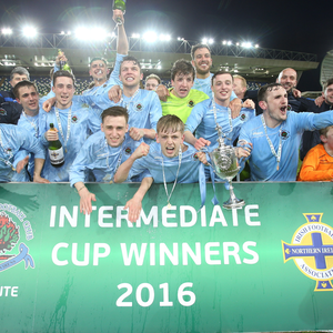 A Stute success: Institute players celebrate their Intermediate Cup victory after beating Ards 3-1 in the final at Windsor Park
