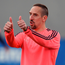 Thumbs up: Franck Ribery warms up in training yesterday for Bayern Munich's second leg battle against Atletico Madrid