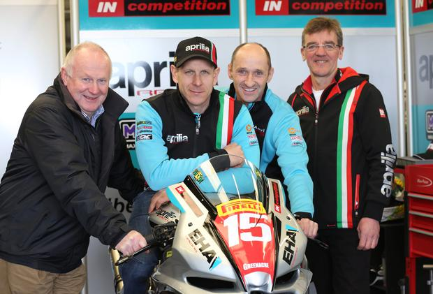Glory bid: Ben Wilson with NW 200 Event Director Mervyn Whyte, Edward Allingham of EHA Racing and Ian Newton, crew chief and a former North Coast winner