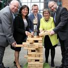 (L-R) Ian Murphy, of Invest NI, Anne Heraty, chief executive of Cpl and chair of the EY Entrepreneur Of The Year judging panel, Sean Duffy, programme director, Julie Sinnamon, chief executive of Enterprise Ireland and Kevin McLoughlin, partner lead Entrepreneur Of The Year programme