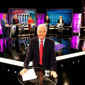 Handout photo of (left to right) UUP leader Mike Nesbitt, Sinn Fein's Martin McGuinness, DUP leader Arlene Foster, SDLP leader Colum Eastwood and Alliance Party leader David Ford as they take part in Noel Thompson hosted Election 2016 - The Leaders' Debate on BBC One Northern Ireland. PA