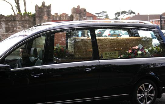 The coffin of Fiona Brady, sister of UTV reporter Aideen Kennedy, leaves Good Shepherd Church
