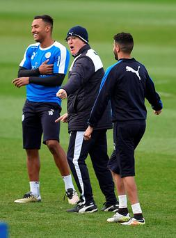Just champion: Claudio Ranieri has a ball at Leicester City's training session yesterday