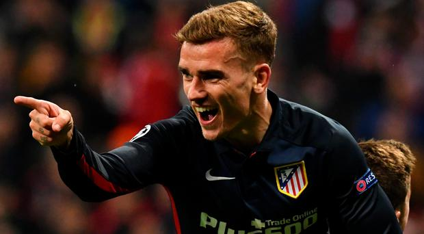 Final say: Atletico Madrid's Antoine Griezmann celebrates after scoring the goal that beat Bayern Munich and sent them into the Champions League final
