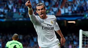 Gareth Bale of Real Madrid celebrates scoring the opening goal during the UEFA Champions League semi final, second leg match between Real Madrid and Manchester City FC at Estadio Santiago Bernabeu on May 4, 2016 in Madrid, Spain. (Photo by David Ramos/Getty Images )