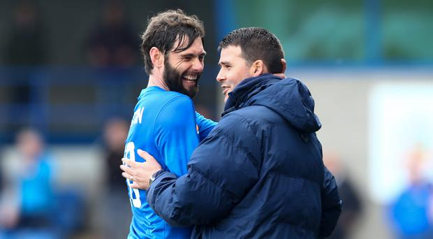 Friendly rivalry: Old pals Gary Hamilton and David Healy will be reunited in the Irish Cup final