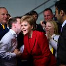 GLASGOW, SCOTLAND - MAY 06: SNP leader Nicola Sturgeon arrives at the count for the Scottish Parliament elections at the Emirates Arena (Photo by Jeff J Mitchell/Getty Images)