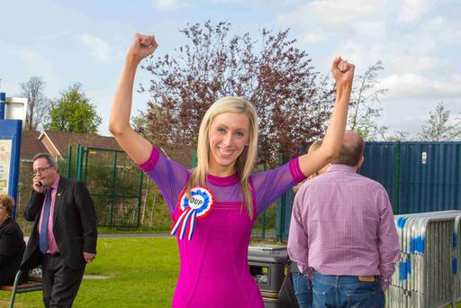 The assembly election count for Newry and Armagh takes place in Banbridge Leisure Centre. Pictured: DUP Upper Bann candidate Carla Lockhart topped the poll on the first count with a total of 7993 votes. Picture by Philip Magowan / Press Eye.