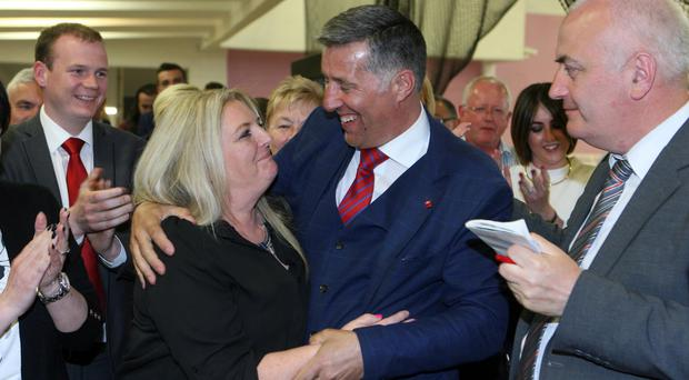 The DUP's Paul Girvan is congratulated