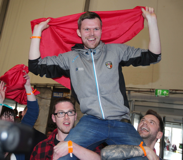 Gerry Carroll celebrates after it is announced he has made the quota to be elected an MLA