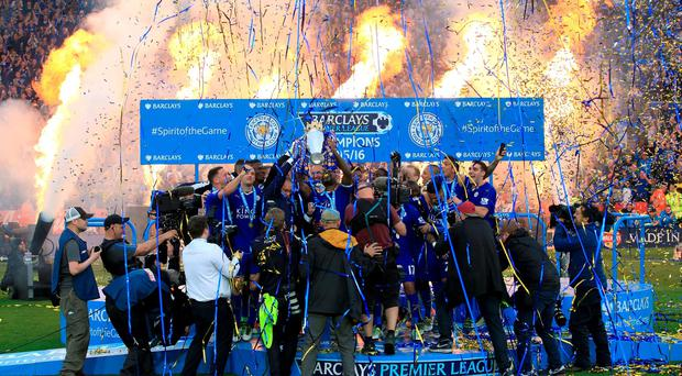 Leicester City celebrate their league win.